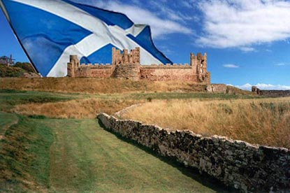 Tantallon_Castle with Saltire