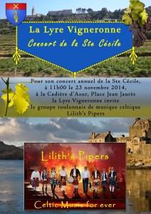 La Lyre Vigneronne et Lilith's Pipers, groupe de musique celtique et cornemuse Toulon