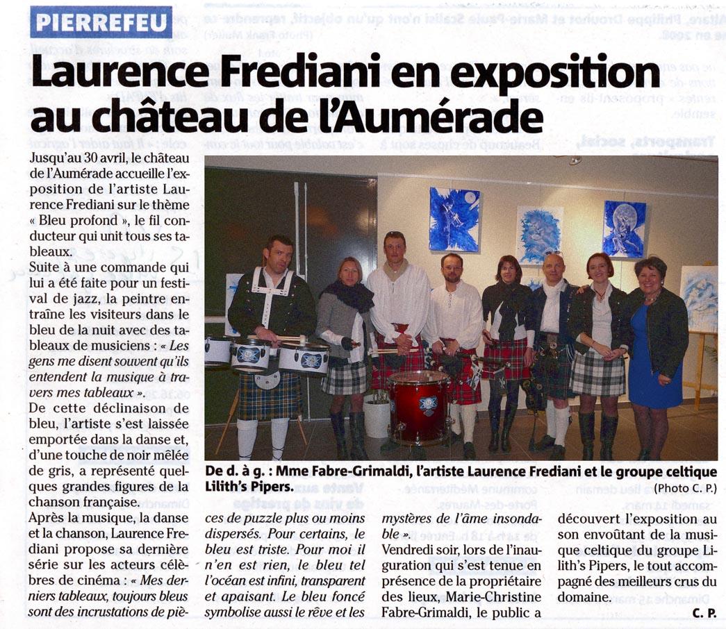 Article Var Matin exposition du 06 mars 2015 au Château de l'Aumérade