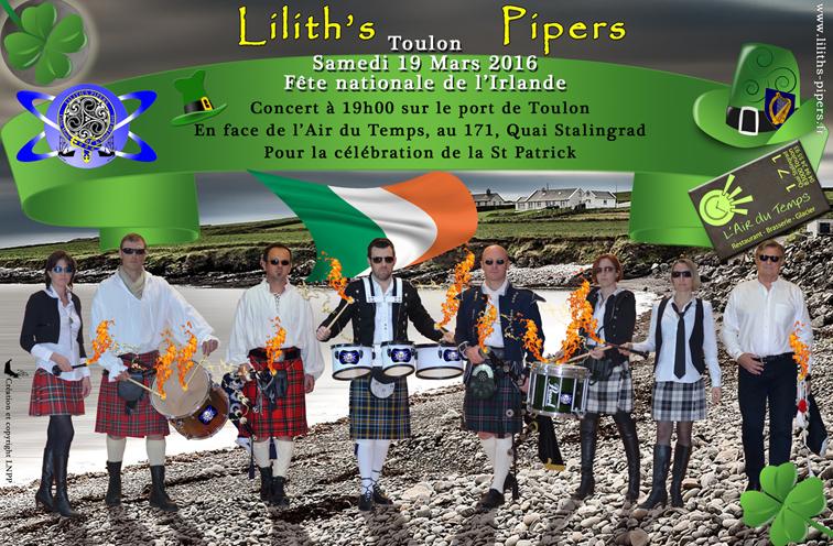 Affiche concert St Patrick 2016 Toulon Cornemuses groupe celtique Lilith's Pipers
