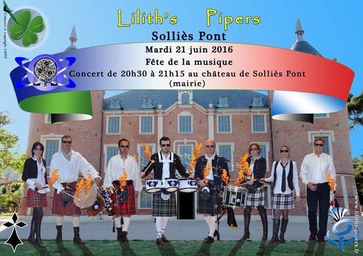 Affiche concert FETE DE LA MUSIQUE 2016 CHATEAU SOLLIES PONT VAR Toulon Cornemuses groupe celtique Lilith's Pipers