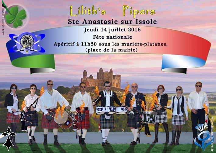 Affiche FETE DU 14 JUILLET 2016 SAINTE ANASTASIE SUR ISSOLE VAR Toulon Cornemuses groupe celtique Lilith's Pipers