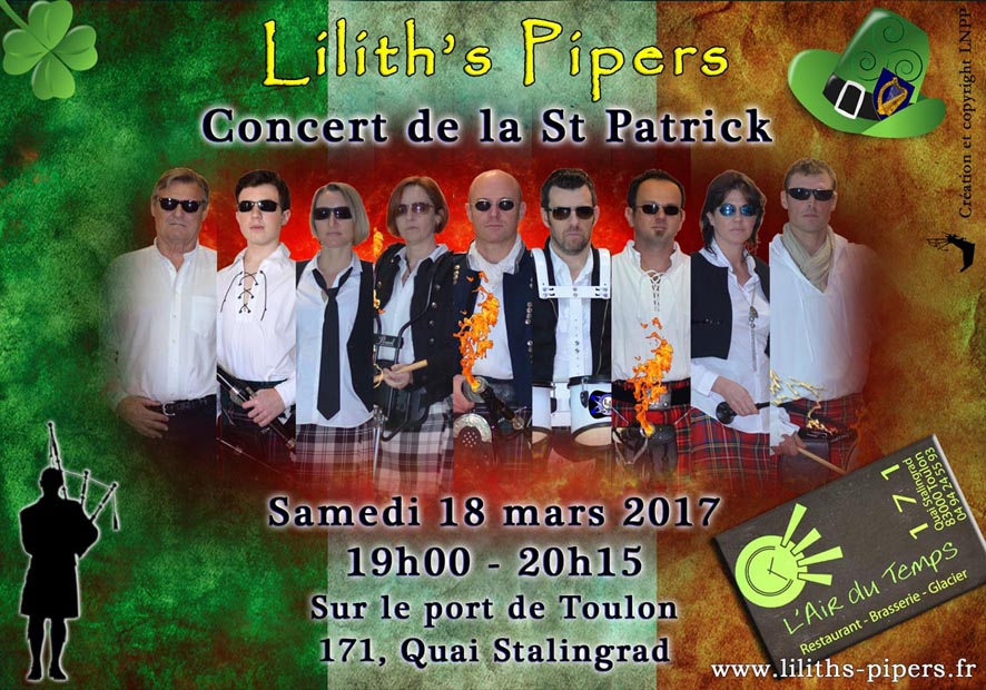 Affiche concert St Patrick 2017 Toulon Cornemuses groupe celtique Lilith's Pipers Biniou Bombarde