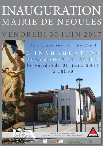 Affiche Cérémonie d'inauguration de la nouvelle mairie de Néoules VAR Toulon Cornemuses groupe celtique Lilith's Pipers