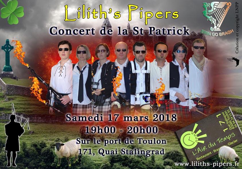 Affiche concert St Patrick 2018 Toulon Cornemuses groupe celtique Lilith's Pipers